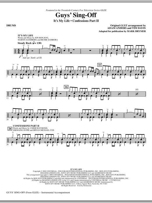 Guys' Sing-Off (from Glee) - Drums by Mark Brymer Choir Instrumental Pak  Digital Sheet Music