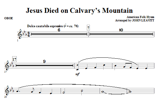 Jesus Died On Calvary's Mountain - Oboe Sheet Music