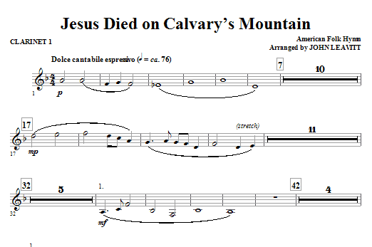 Jesus Died On Calvary's Mountain - Clarinet 1 Sheet Music