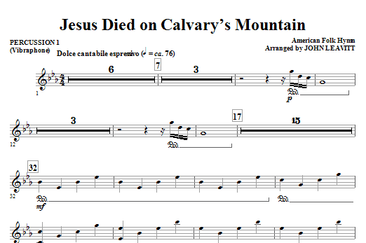 Jesus Died On Calvary's Mountain - Percussion 1 Sheet Music