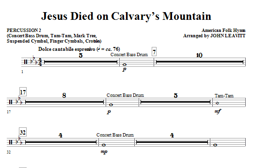 Jesus Died On Calvary's Mountain - Percussion 2 Sheet Music