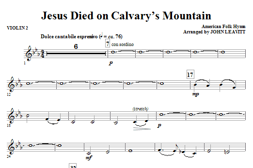 Jesus Died On Calvary's Mountain - Violin 2 Sheet Music