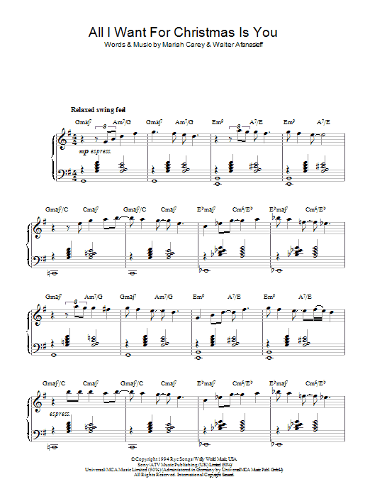 All I Want For Christmas Is You (jazz version) Sheet Music