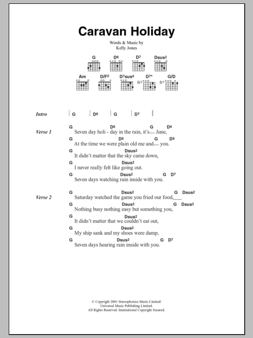 Caravan Holiday Sheet Music Stereophonics Lyrics Chords