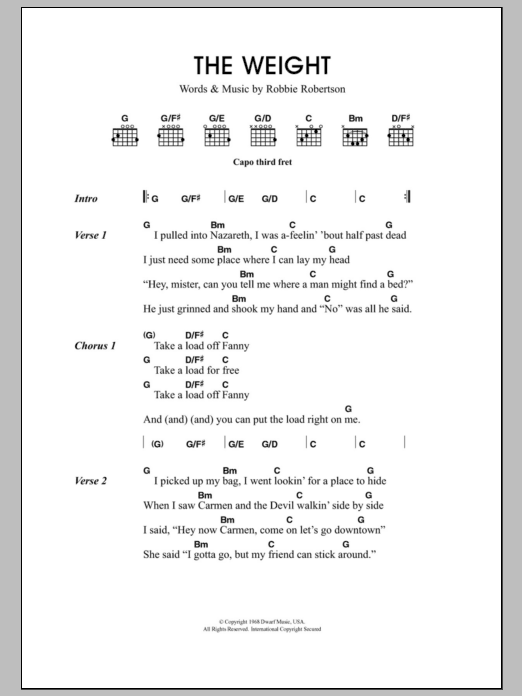 The Weight Sheet Music Direct