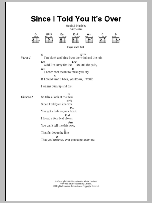 Since I Told You It's Over Sheet Music