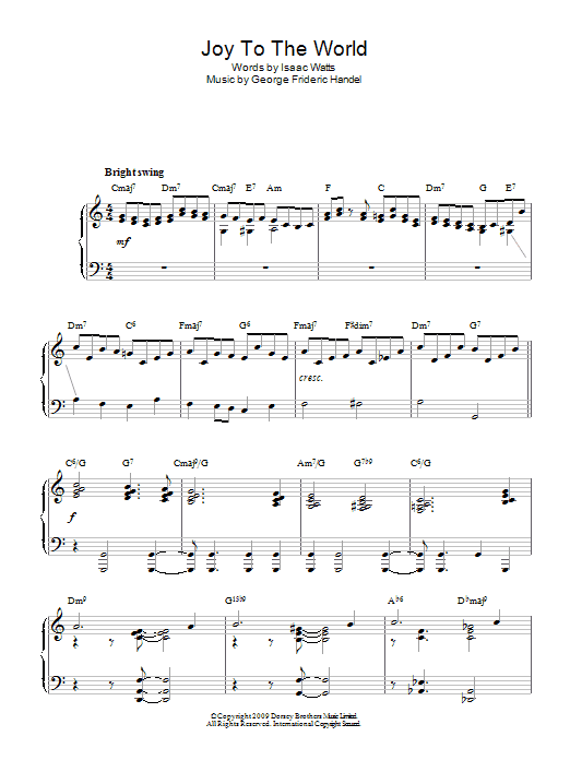 Joy To The World (jazz version) Sheet Music   Christmas Carol   Piano Solo