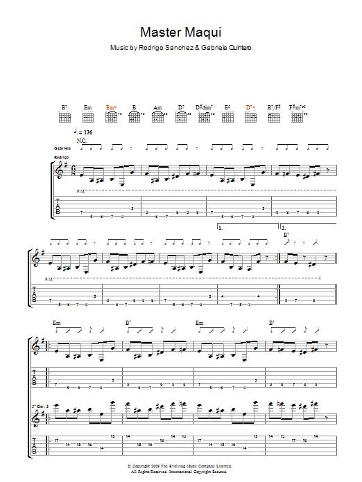 Master Maqui Sheet Music