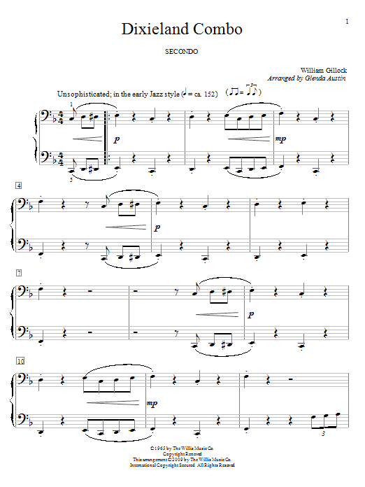 Partition piano Dixieland Combo de William Gillock - 4 mains