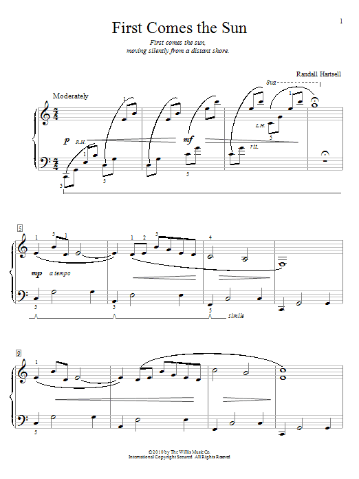 Partition piano First Comes The Sun de Randall Hartsell - Autre