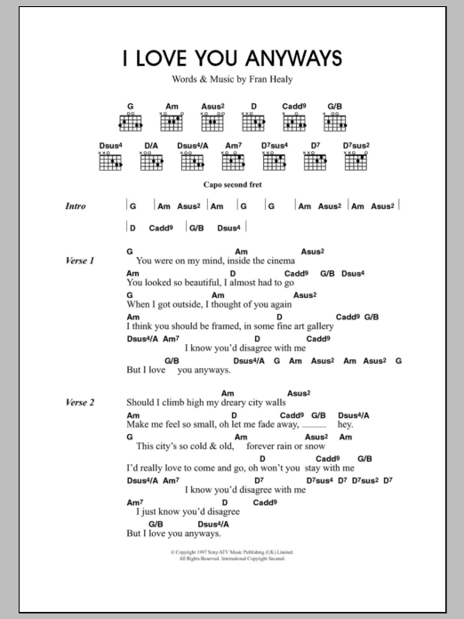 So Anyway Sheet Music (Piano/Vocal/Chords)