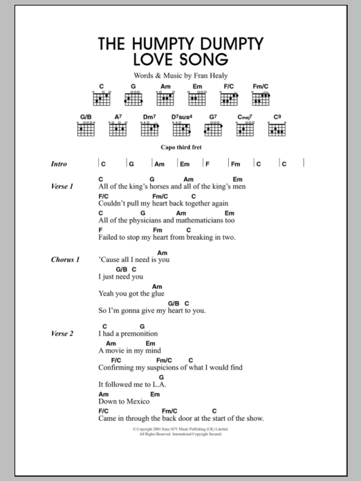 The Humpty Dumpty Love Song Sheet Music