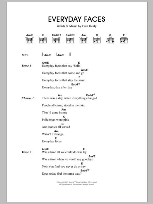 Everyday Faces by Travis - Guitar Chords/Lyrics - Guitar Instructor