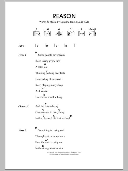Reason Sheet Music