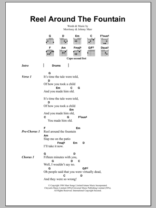 Reel Around The Fountain Sheet Music By The Smiths Lyrics Chords