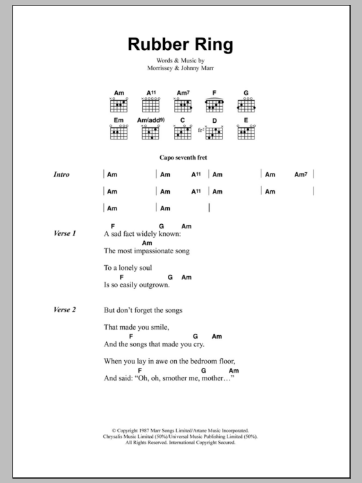 Rubber Ring by The Smiths - Guitar Chords/Lyrics - Guitar Instructor