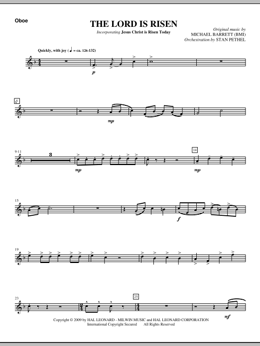 The Lord Is Risen - Oboe Sheet Music