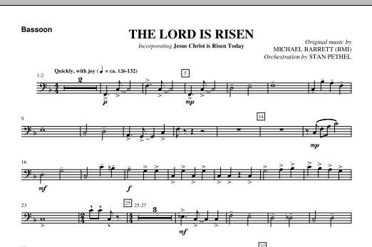 The Lord Is Risen - Bassoon Sheet Music