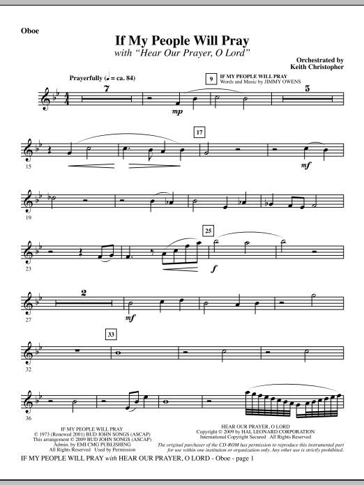 If My People Will Pray (with Hear Our Prayer, O Lord) - Oboe Sheet Music