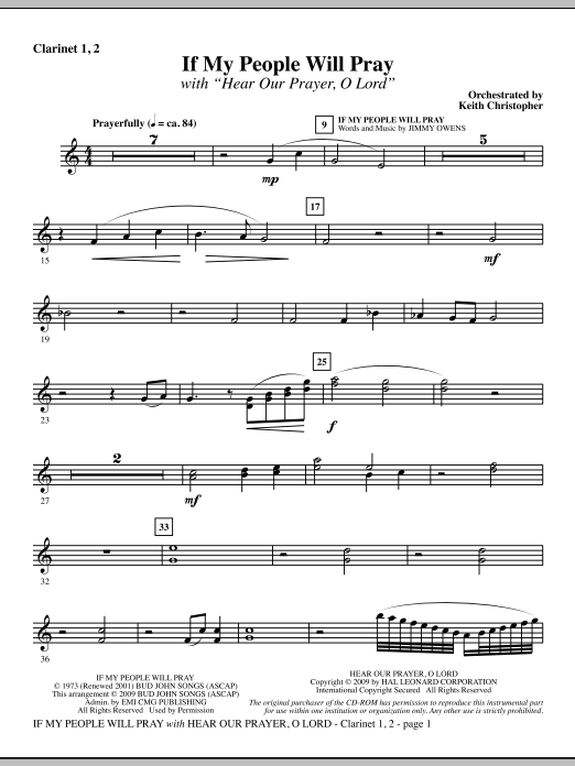 If My People Will Pray (with Hear Our Prayer, O Lord) - Bb Clarinet 1 & 2 Sheet Music