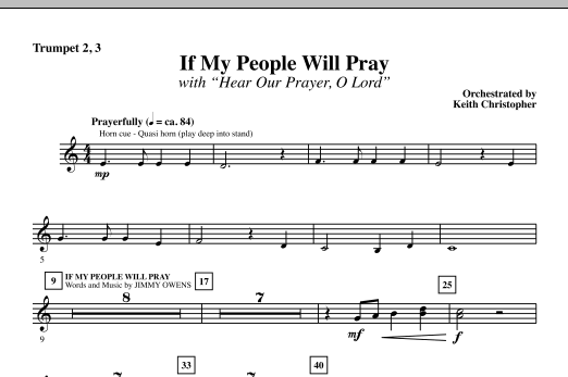 If My People Will Pray (with Hear Our Prayer, O Lord) - Bb Trumpet 2,3 Sheet Music
