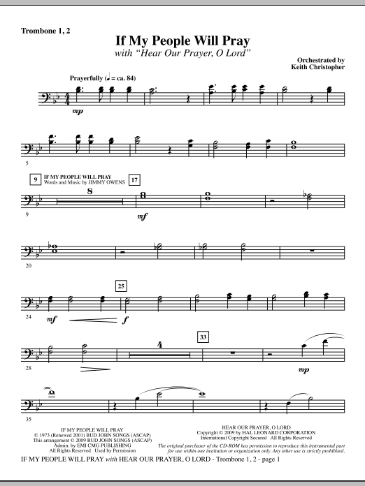 If My People Will Pray (with Hear Our Prayer, O Lord) - Trombone 1 & 2 Sheet Music
