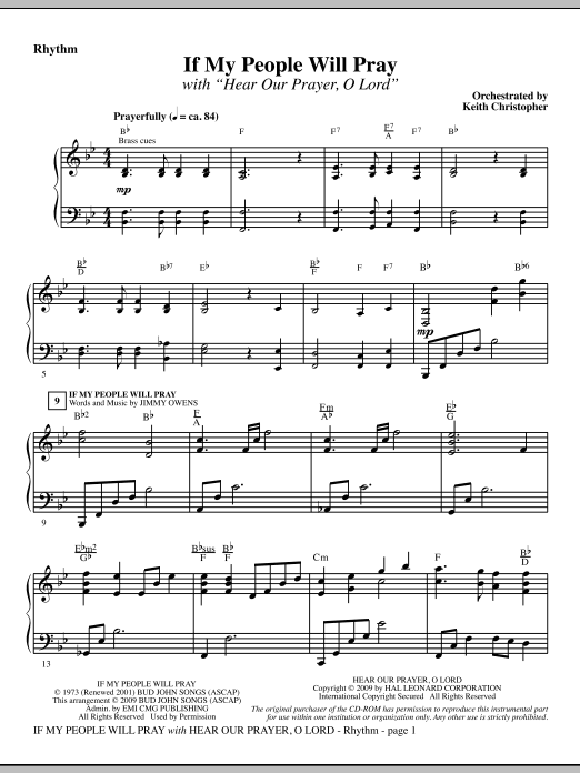 If My People Will Pray (with Hear Our Prayer, O Lord) - Rhythm Sheet Music