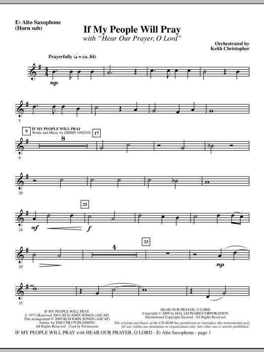 If My People Will Pray (with Hear Our Prayer, O Lord) - Alto Sax (sub. Horn) Sheet Music