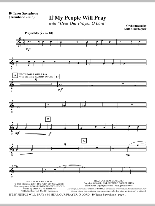 If My People Will Pray (with Hear Our Prayer, O Lord) - Tenor Sax (sub. Tbn 2) Sheet Music