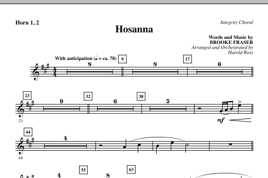Hosanna - Horn 1 & 2 (Choir Instrumental Pak)