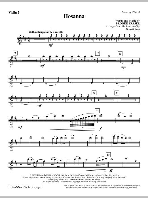 Hosanna - Violin 2 (Choir Instrumental Pak)
