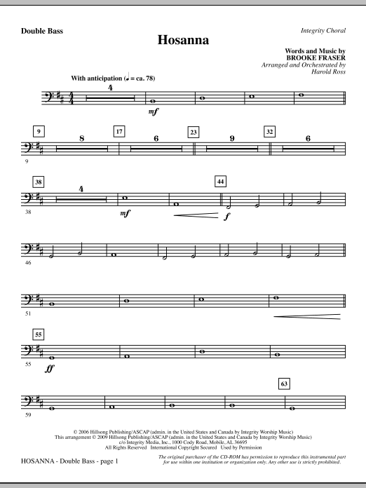 Hosanna - Double Bass (Choir Instrumental Pak)