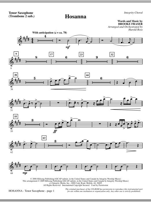 Hosanna - Tenor Sax (sub. Tbn 2) (Choir Instrumental Pak)