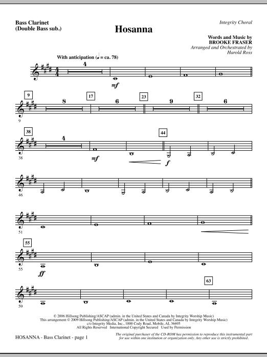Hosanna - Bass Clarinet (sub. dbl bass) (Choir Instrumental Pak)