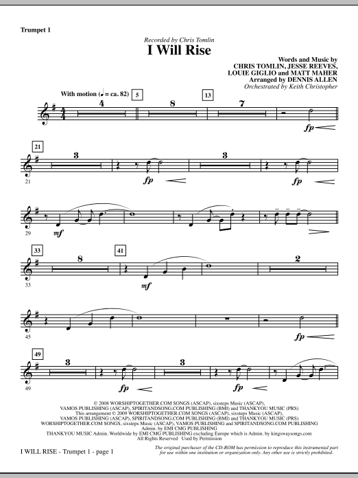 I Will Rise - Bb Trumpet 1 Sheet Music