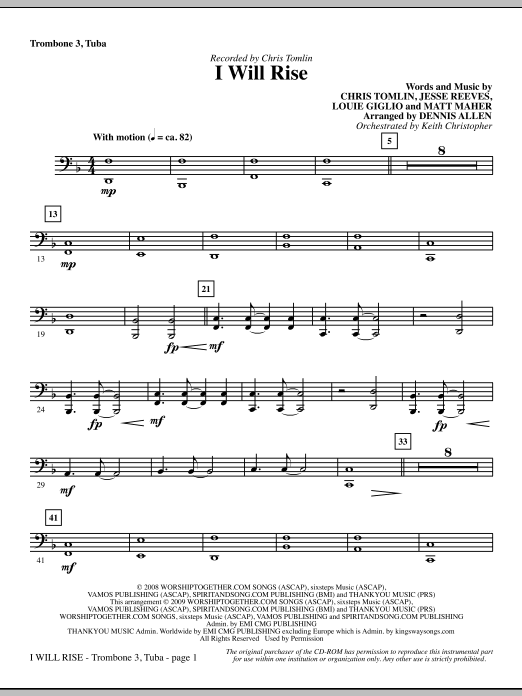 I Will Rise - Trombone 3/Tuba Sheet Music