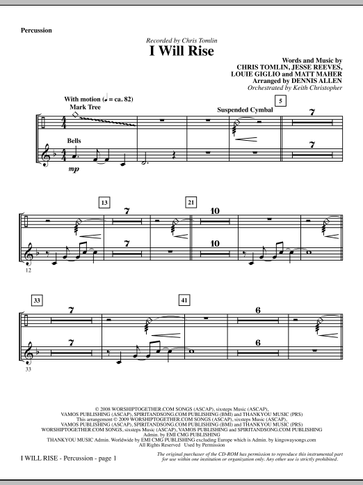 I Will Rise - Percussion Sheet Music