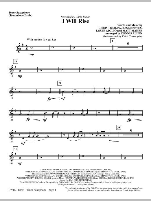 I Will Rise - Tenor Sax (sub. Tbn 2) Sheet Music