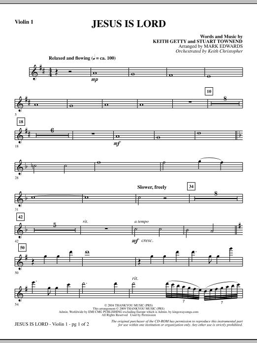Jesus Is Lord - Violin 1 Sheet Music