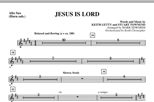 Jesus Is Lord - Alto Sax (sub. Horn) Sheet Music