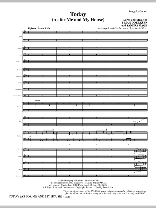 Today (As For Me And My House) - Full Score Sheet Music