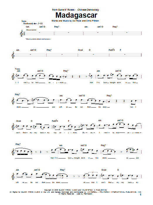 Madagascar Sheet Music