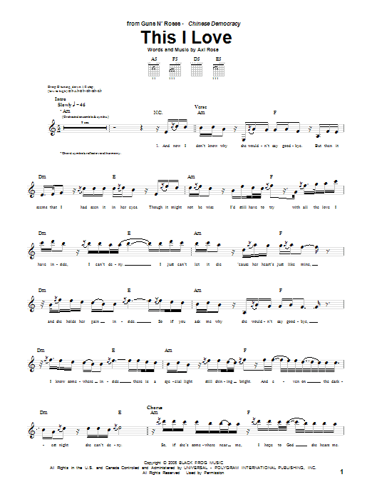 This I Love (Guitar Tab)