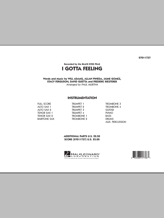 I Gotta Feeling (COMPLETE) sheet music for jazz band by Paul Murtha, Allan Pineda, Black Eyed Peas, David Guetta, Frederic Riesterer, Stacy Ferguson and Will Adams. Score Image Preview.