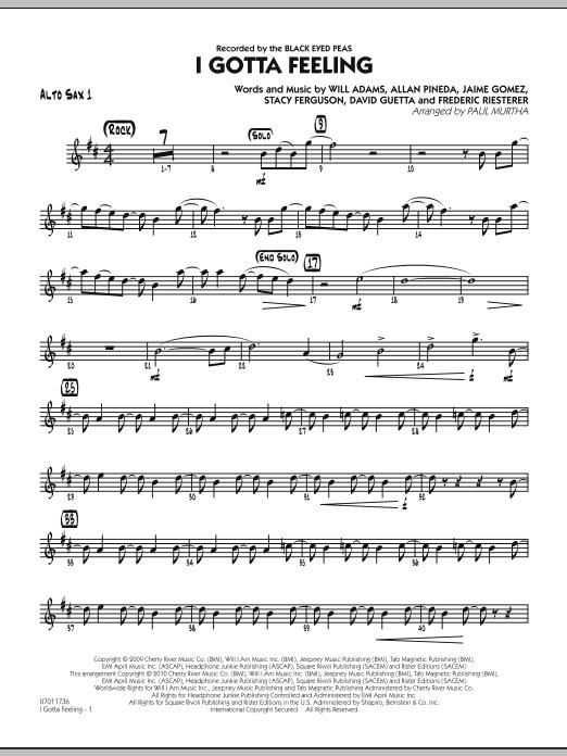 I Gotta Feeling - Alto Sax 1 (Jazz Ensemble)