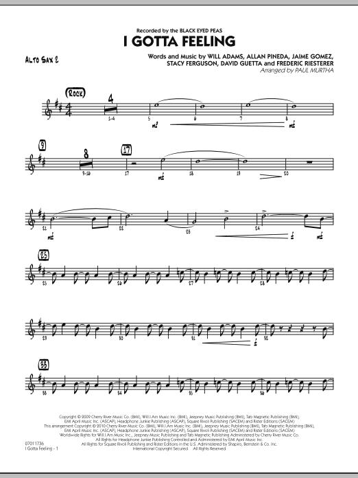 I Gotta Feeling - Alto Sax 2 (Jazz Ensemble)