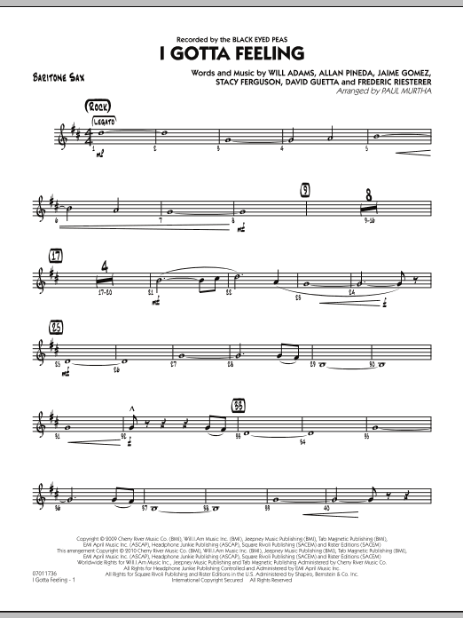 I Gotta Feeling - Baritone Sax (Jazz Ensemble)