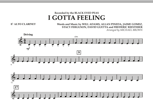 I Gotta Feeling - Eb Alto Clarinet (Concert Band)