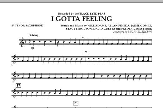 I Gotta Feeling - Bb Tenor Saxophone (Concert Band)