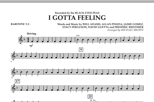 I Gotta Feeling - Baritone T.C. (Concert Band)